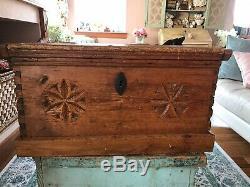 1800s 26 Antique Folk Art Carved Trunk Hope Blanket Chest Primitive