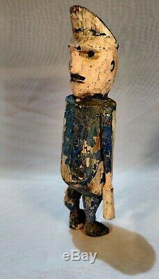 1800s Primitive Carved Americana Folk Art Wood Figure Police Petersburg VA AAFA