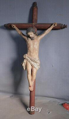 18th Century Carved Polychrome Wood Santo Corpus Jesus Christ Crucifix Folk Art
