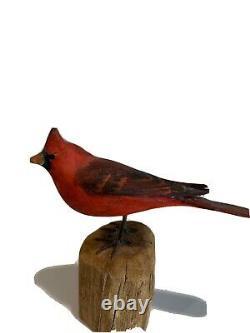 1 Vintage Peter Peltz Carved & Painted Wood Folk Art Red Cardinal Bird Signed