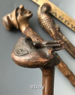 (2) Folk Art Carved Wooden Hobo Canes Walking Sticks + Parrot Bird Handle, 1900s