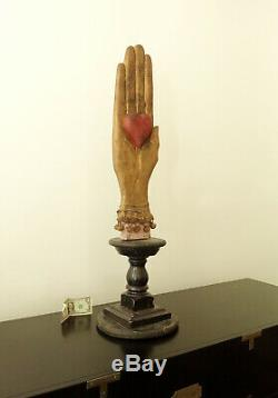 37 KENT GUTZMER Folk Art Wood Carving-HEART IN HAND-1997-South Dakota-OOAK