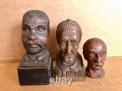 3 Antique Folk Art Primitive Carved Hardwood Heads, Busts, Old People