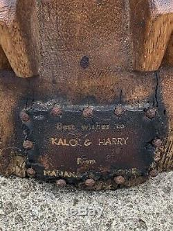 3ft LARGE Antique Hawaiian Tiki Hand Carved Wood Lono God Statue Folk Art WOW