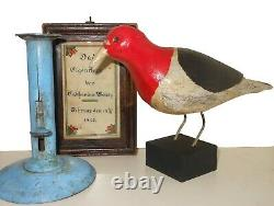 AAFA 1900s Folk Art Country Primitive Wood Hand Carved Bird Woodpecker