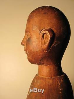 ANTIQUE AMERICAN FOLK ART ARTIST MANNEQUIN NH WOOD PEG TURN 18th CENTURY NH MAN