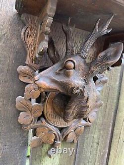 ANTIQUE German Black Forest DEER WALL BRACKET hand carved wood shelf folk art