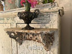 ANTIQUE PRIMITIVE OLD PAINTED HAND CARVED FOLK ART WALL SHELF-BEST Chippy White
