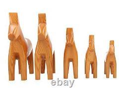 A set of 5 Swedish hand carved Marcis Vidzem wooden horses Dala style Folk art