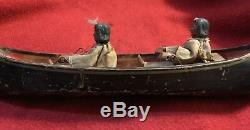 American Folk-Art Carved Wooden Indian Canoe Pull Toy