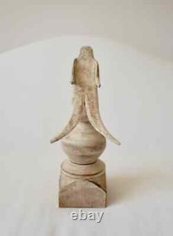 American Folk Art Hand Carved Wood Split Tail Bird on Wood Finial