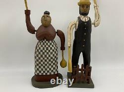 American Folk Art Larry & Paige KOOSED Whirligig Pair Farmer And Wife 1987