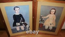 American Folk Art Pair Of Prints Carved Wood Frames SAMUEL MILLER Charlestown MA