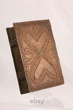 Antique 1789 Wooden Chipped Carved Two Heart Slide Top Box Folk Art