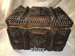 Antique 1800s Black Forest Chip Carved Tramp Folk Art Jewelry Trinket Sewing Box