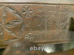 Antique 1841 Scandinavian Norwegian Chip Carved Wood Mangle Board Folk Art