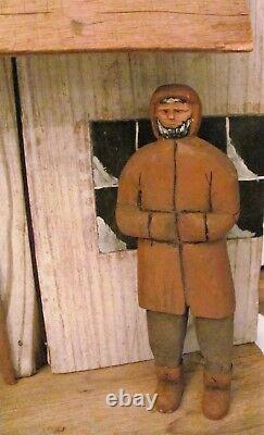 Antique 1883 Signed 3 Piece Folk Art Primitive Hand Carved Wood Figures 63 x 16