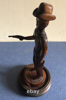 Antique American Folk Arr Cowboy Figurine Carved Frim Wood, Circa 1900