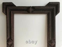 Antique American Folk Art Chip Wood Brown Carved Picture Frame. 19th C