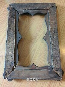Antique American Tramp Art Frame Hearts Folk Art Carved Wood