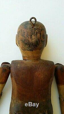 Antique Americana Carved Wood Folk Art Dancing Doll Toy 19th/20th Century