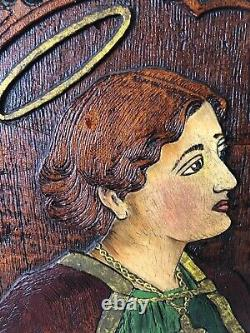 Antique CARVED WOOD Folk Art POLYCHROME American Mission Saint Cecilia Religio