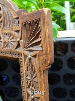 Antique CHIP CARVED FRAME with studs 19thC walnut 12 Victorian Antique Folk Art