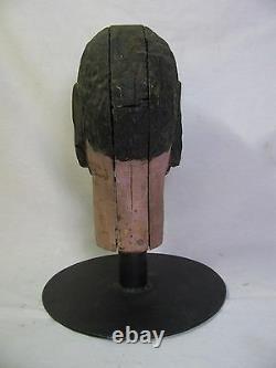 Antique Carnival Amusement Game Charlie's Hat Folk Art Carved Wooden Head