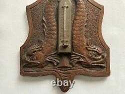 Antique Carved Oak & Brass Thermometer w Dolphins Folk Tramp Art Black Forest