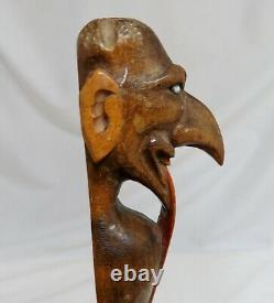 Antique Carved Wood Folk Art Mephisto Devil Page Turner 80599