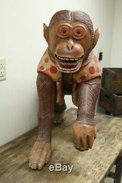 Antique Carved Wood Monkey Carnival Carousel Animal fair merry-go-round folk art