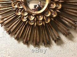 Antique Carved Wood Sun Sunburst Mirror Wall Folk Art Gold Gilt c