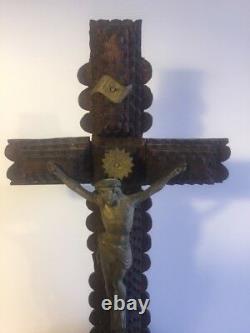 Antique Carved Wood Tramp Art Crucifix Jesus Cross Folk Art