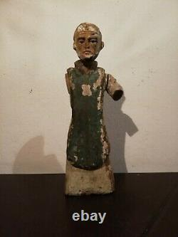 Antique Carved Wooden statue Santo saint glass eyes Mexican folk art