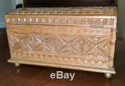 Antique Chip Carved Miniature Dome Top Box Chest Best Geometric 19th C Folk Art