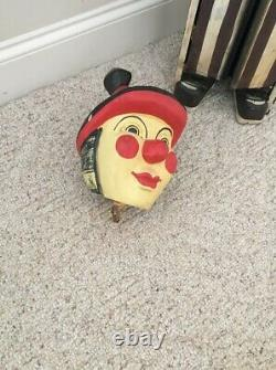 Antique Circus Folk Art Carnival Clown Cabinet Wood Hand Carved Cabinet