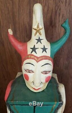 Antique Circus Folk Art Carnival Jester Clown Cabinet Wood Hand Carved Cabinet