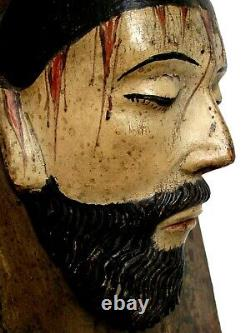 Antique Divino Rostro Holy Face 19th c. Mexican Carved Wood RARE