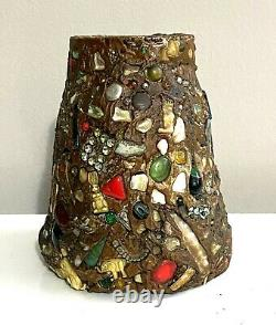 Antique Early-20th C. American Folk Art Memory Jug with 14K Gold inlaid Brooch