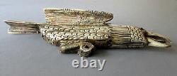 Antique FOLK ART Hand Carved Cattle Bone 12 EAGLE
