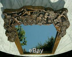 Antique Folk Art Carved Bacchanalian Faun Grapes Mirror 26.5 by 16