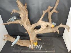 Antique Folk Art Hand Carved Eastern Birds on Large Drift Wood Piece 18 Tall