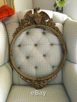 Antique Folk Art Hand Carved Gold Wood American Eagle Round Wall Mirror Frame