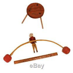 Antique Folk Art Toy Dancing Man Balancing Figure c. 1920s Hand Carved AAFA