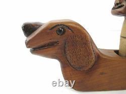 Antique Folk Art Wiener Dog Dachshund Wood Plane Carved Ubiracy Da Silva #3