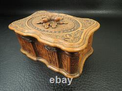 Antique French Trinket Box Black Forest Carved Twig With Acorns Folk Art