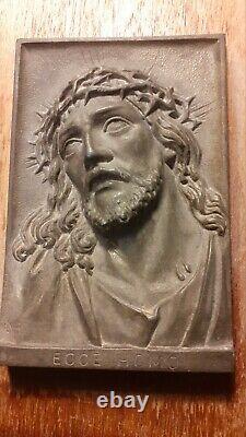 Antique German Hand Carved Wood Tramp Folk Art Picture Frame + Jesus