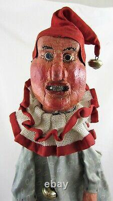Antique Glove Puppet Jester Elf Folk Art C1920 Hand Carved