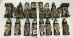 Antique Hand Carved Wooden Chess Set Large Pieces 10 Folk Art CHESS SET