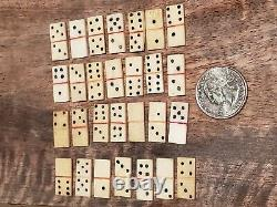 Antique Hand Made Carved Natural Real Bone Mini Domino Set Toy Folk Art Game Box